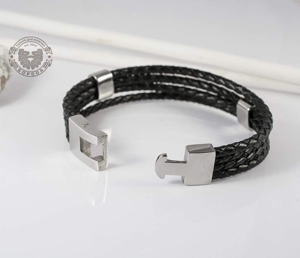 BL384 Стильный кожанный браслет со стальными подвижными элементами (21 см) фото 02