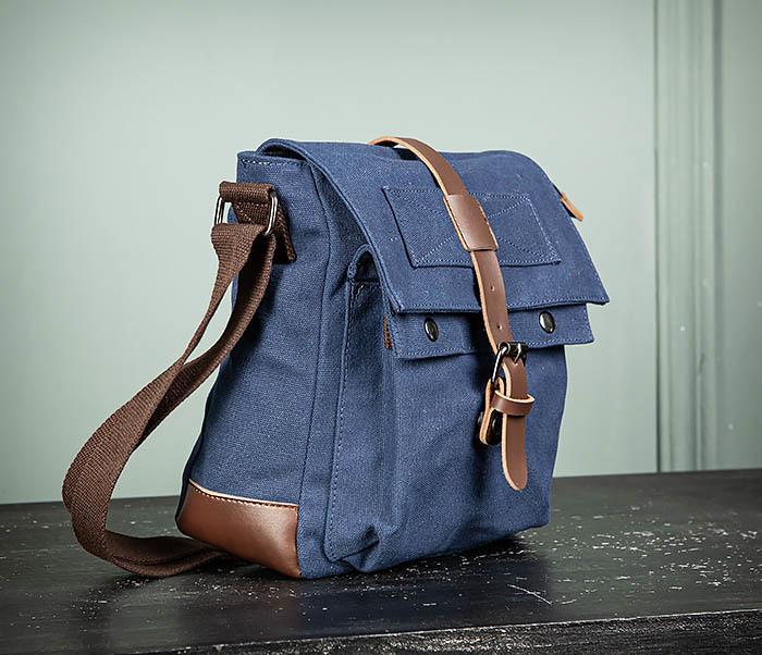 BAG503-3 Мужская сумка «почтальонка» из ткани синего цвета фото 03