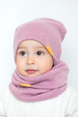 Детский снуд-горловинка из турецкой шерсти пудрово-розовый