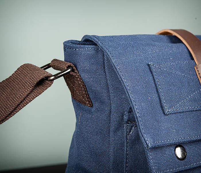 BAG503-3 Мужская сумка «почтальонка» из ткани синего цвета фото 04