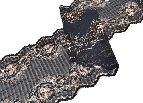Эластичное кружево, 20 см, черное с золотистым рисунком, (Арт: EK-2247), м