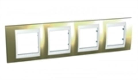 Рамка на 4 поста. Цвет Золото/Белый. Schneider electric Unica Хамелеон. MGU66.008.804