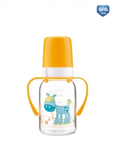 Бутылочка тритановая (BPA 0%) (11/823) с ручками с сил. соской, 120 мл. 3+ Cheerful animals (лошадка)