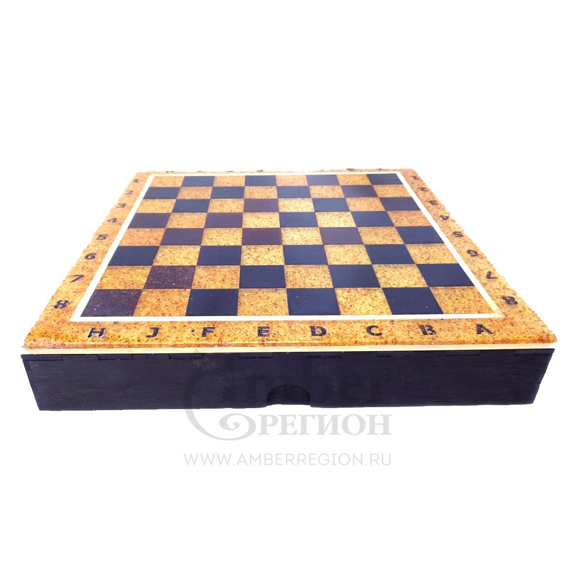 Янтарная шахматная доска-коробка 25*25 см (дуб) 3 шт.