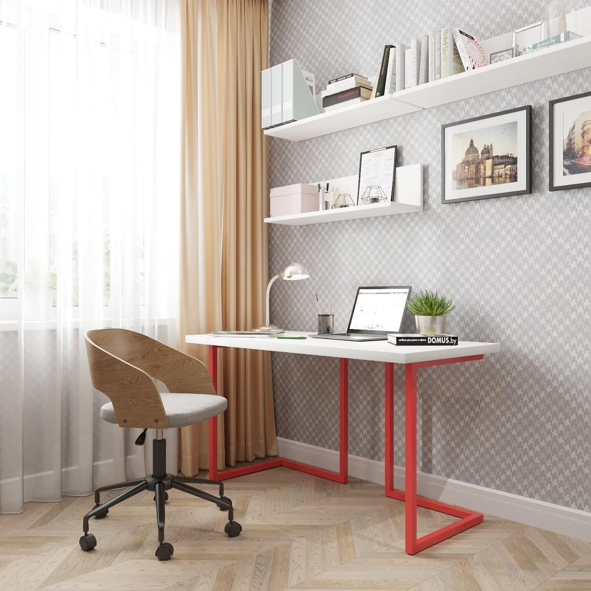Письменный стол ДОМУС Урбан-1 белый/металл красный
