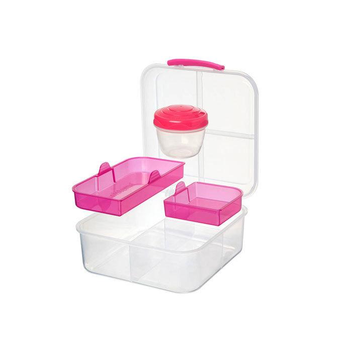 """Ланч-бокс с баночкой Sistema """"Bento TO GO"""", многосекционный, 1,25 л, цвет Розовый"""