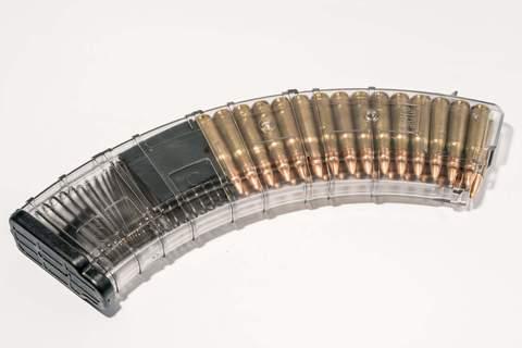 Магазин Pufgun для АКМ 7.62x39 ВПО-136 на 40 патронов, прозрачный