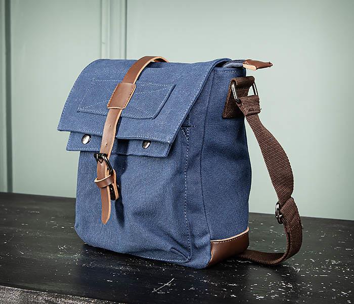 BAG503-3 Мужская сумка «почтальонка» из ткани синего цвета фото 06