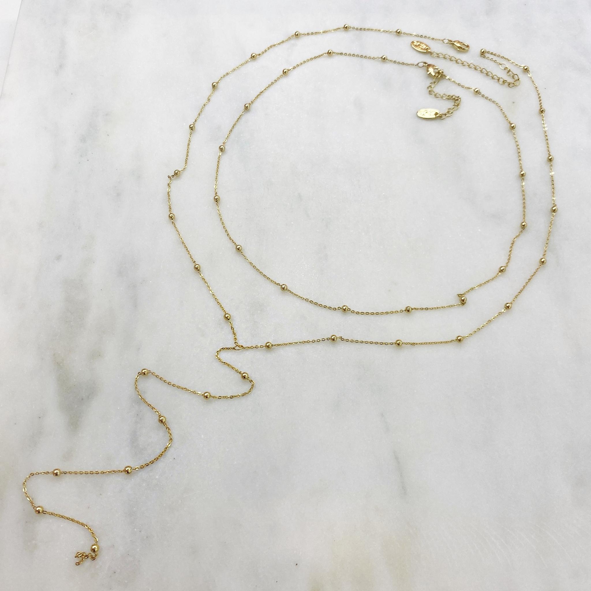 Двойное колье галстук с бусинами (золотистый)