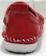 Кожаные мокасины женские балетки летние Rozen 212 Red.