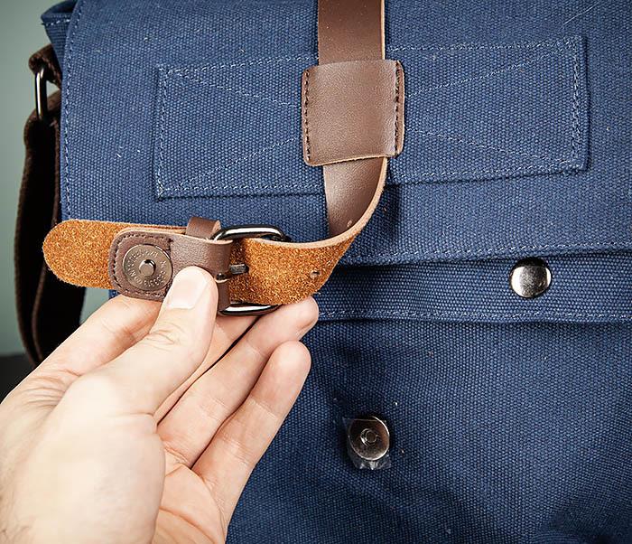 BAG503-3 Мужская сумка «почтальонка» из ткани синего цвета фото 07