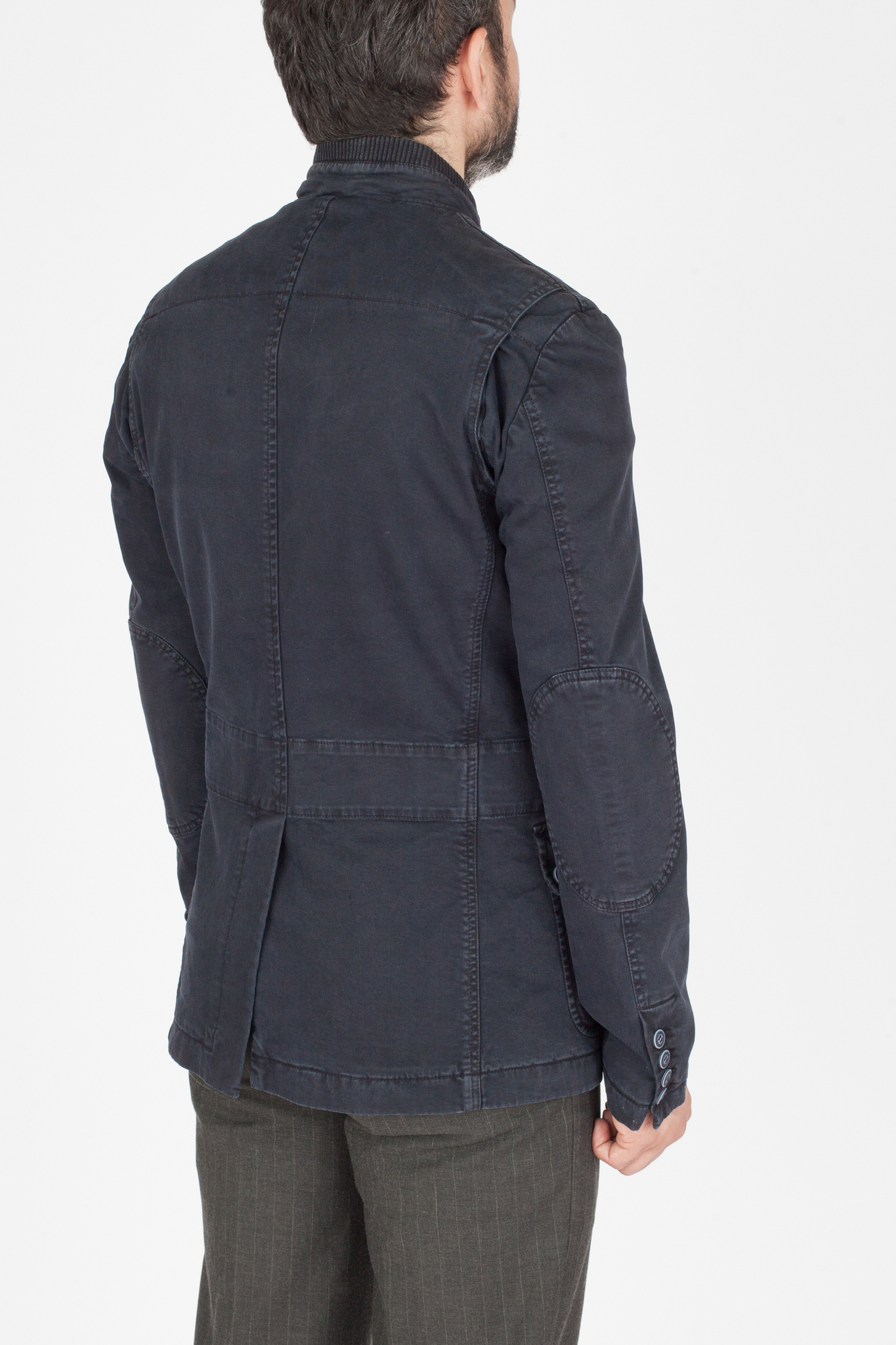 Тёмно-синяя лёгкая короткая хлопковая куртка