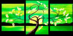 """Модульная картина """"Зеленый закат"""""""