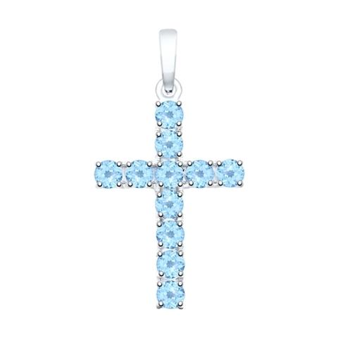 92030511 -  Крестик из серебра с топазами от SOKOLOV