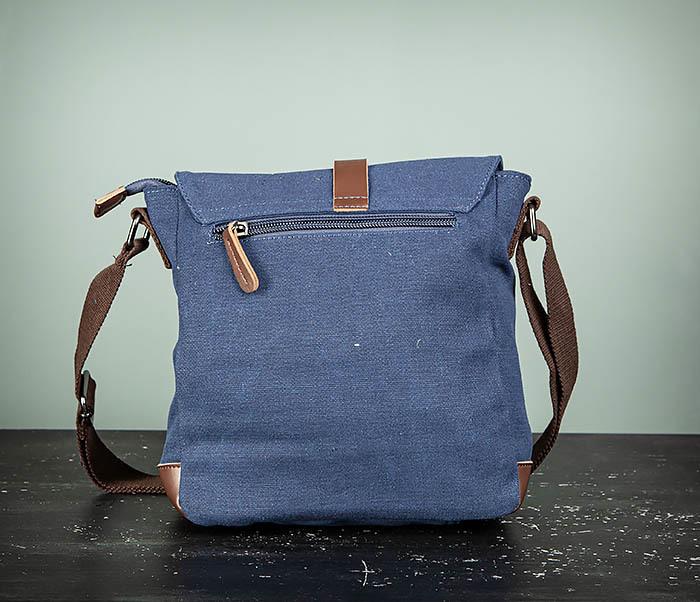 BAG503-3 Мужская сумка «почтальонка» из ткани синего цвета фото 08