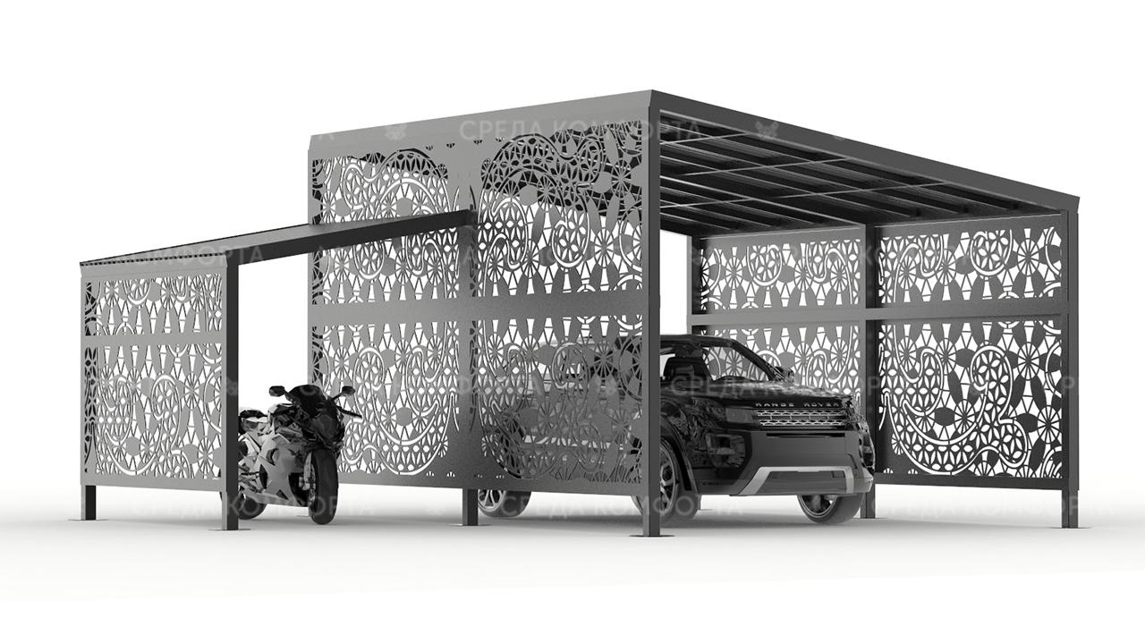 Навес для автомобиля с местом для хранения мотоцикла, квадроцикла, или лодки AVNVS0041