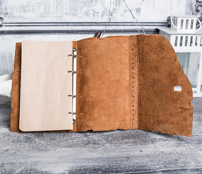 BY01-06-07 Прикольный кожаный блокнот «Лучник» с застежкой - клыком (А5) фото 08