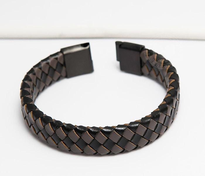 BM450-2 Мужской плетеный браслет из натуральной кожи (20 см) фото 04