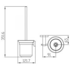 Держатель для туалетной щетки (ершик) настенный KAISER Gerade KH-2016  схема