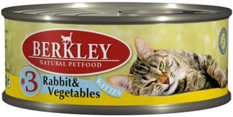 Консервы Berkley №3 Кролик с овощами для котят