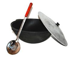Печь с дымоходом усиленная + казан 16л узбекский, Шумовка и половник!