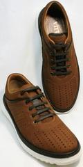 Модные мужские летние туфли на плоской подошве Vitto Men Shoes 1830 Brown White