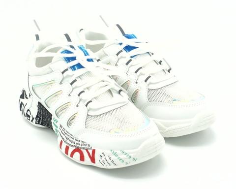 Бело-бежевые кроссовки из эко кожи