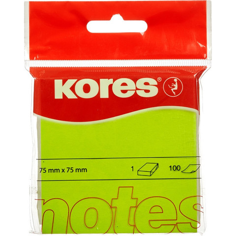 Стикеры Kores 75x75 мм неоновые зеленые (1 блок, 100 листов)