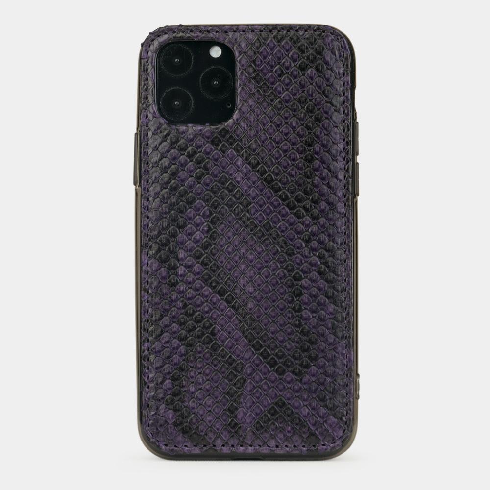 Чехол-накладка для iPhone 11 Pro из натуральной кожи питона, фиолетового цвета
