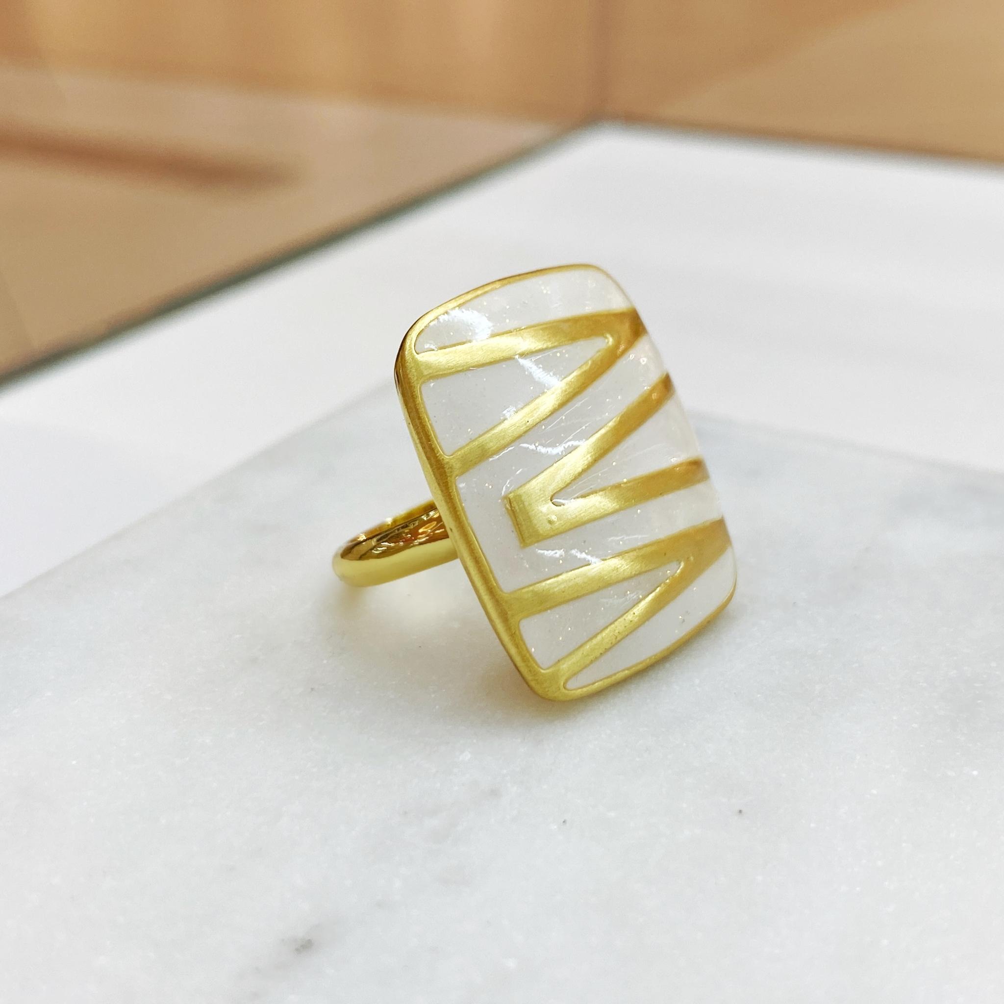 Кольцо Vi зебра золотой/белый