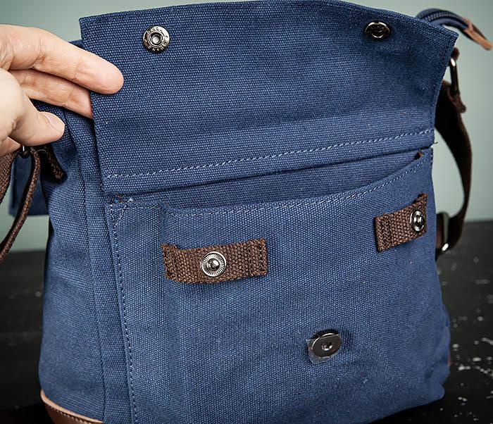 BAG503-3 Мужская сумка «почтальонка» из ткани синего цвета фото 09