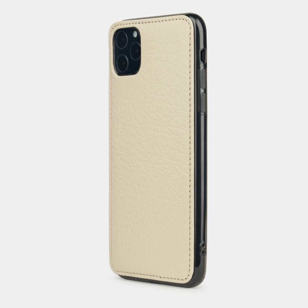 Чехол-накладка для iPhone 11 Pro Max из натуральной кожи теленка, молочного цвета