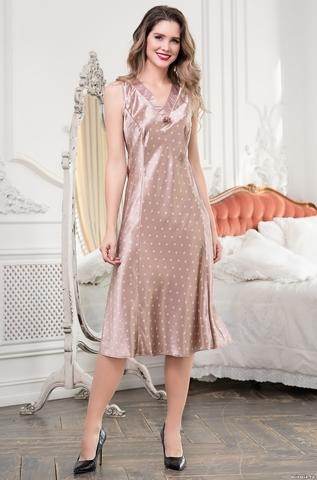 Длинная женская сорочка Mia-Mella CLEVER КЛЕВЕР 8948 бежевый