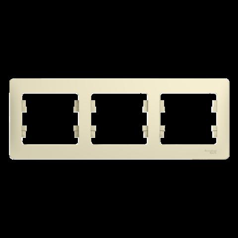 Рамка на 3 поста, горизонтальная. Цвет Бежевый. Schneider Electric Glossa. GSL000203