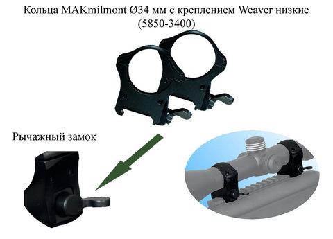 Кольца Weaver MAK 34 мм низкие (5850-3400)