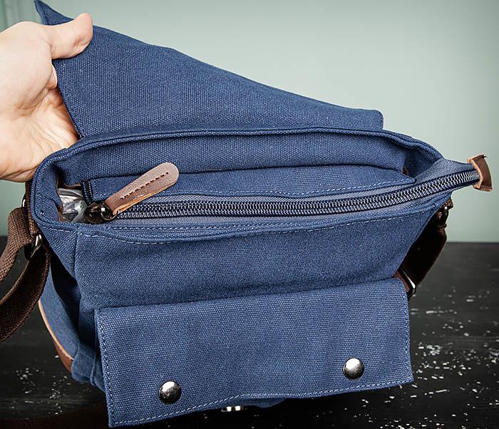 BAG503-3 Мужская сумка «почтальонка» из ткани синего цвета фото 10