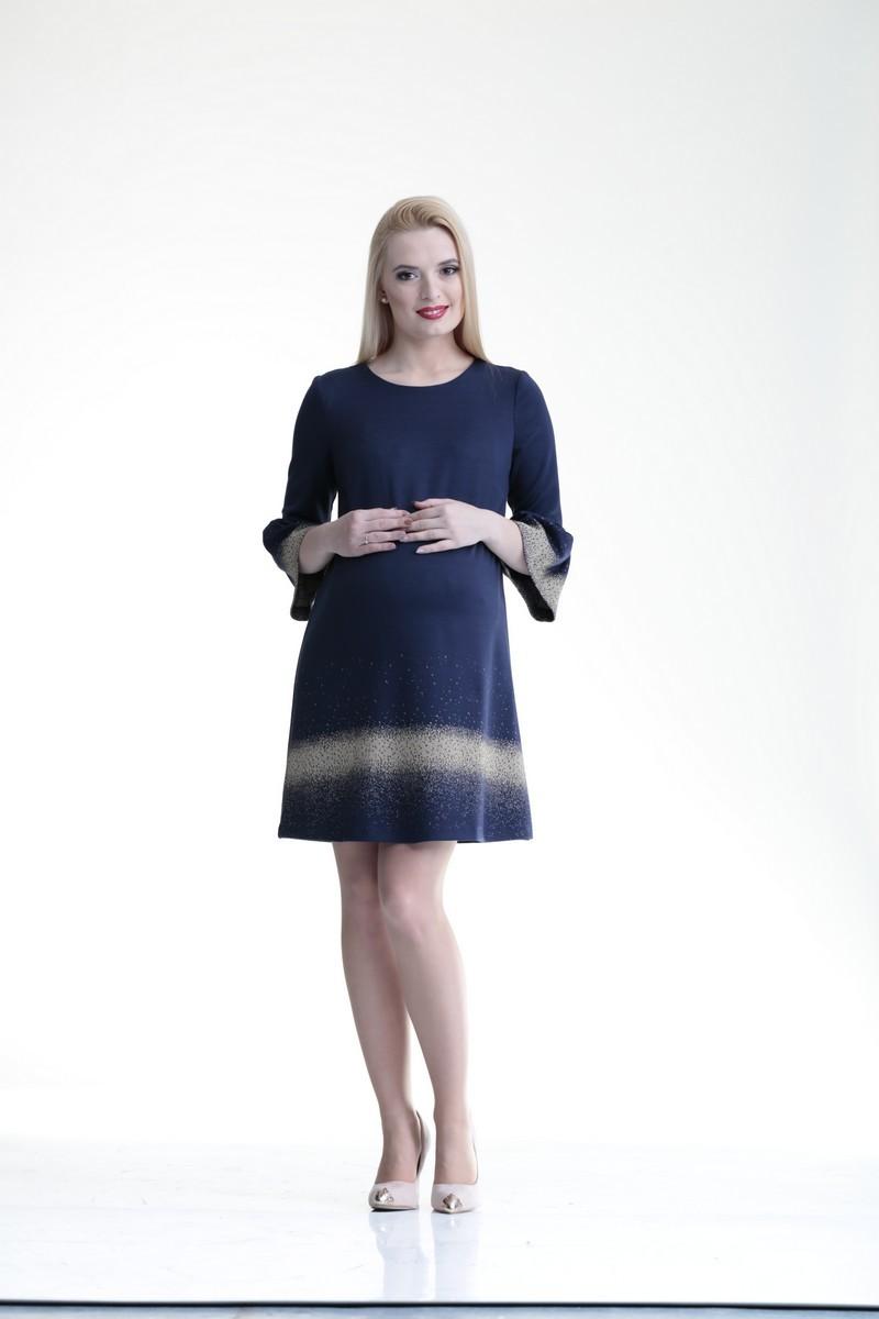 Фото платье для беременных Mama i Ja, классическое от магазина СкороМама, синий, золото, размеры.