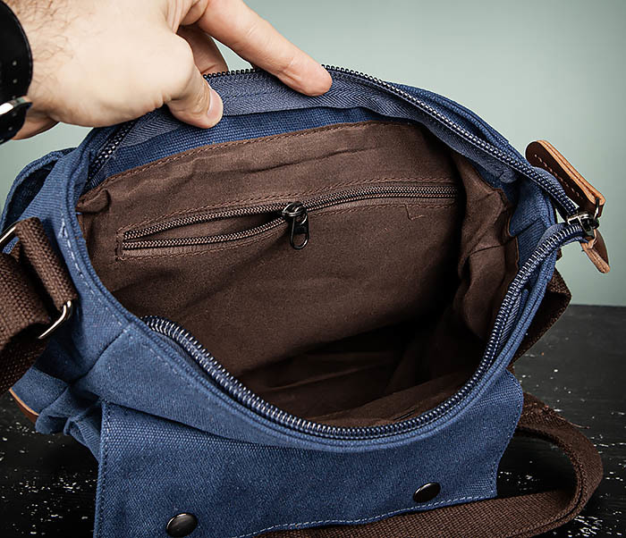 BAG503-3 Мужская сумка «почтальонка» из ткани синего цвета фото 11