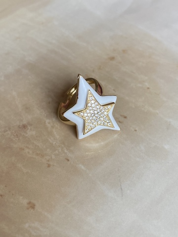 Кольцо Звезда белое, позолоченное серебро