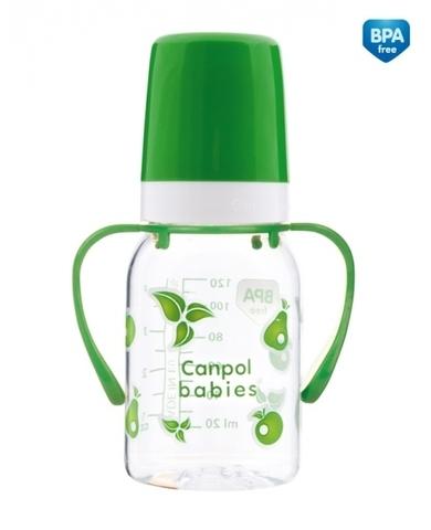 Бутылочка тритановая  (BPA 0%) (11/821) с ручками с сил. соской, 120 мл. 3+ (зеленый)