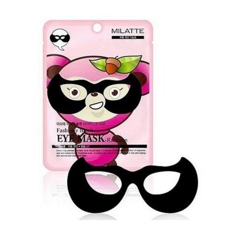 Локальная маска вокруг глаз от морщин и темных кругов с алоэ и муцином улитки Fashiony Black Eye Mask Raccoon MILATTE