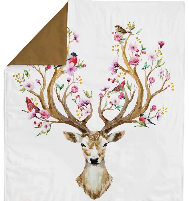 Панель(купон) олень с цветущими рогами-75*100 см