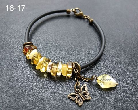 браслет из балтийского янтаря и каучука