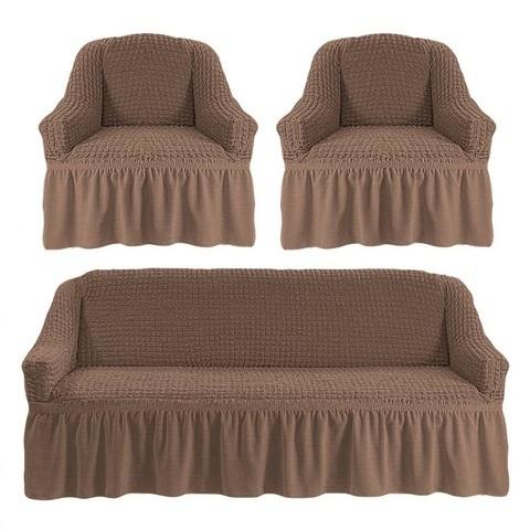 Комплект чехлов для дивана и двух кресел капучино.