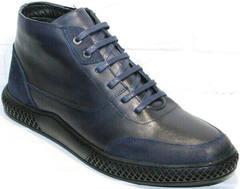 Кожаные ботинки мужские модные Luciano Bellini BC2802 L Blue.