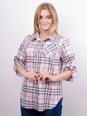 Делюкс. Стильная женская рубашка плюс сайз. Клетка пудра.