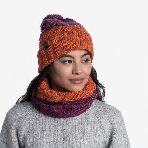 Комплект шапка шарф вязаный с флисом Buff Janna Fuchsia фото 1