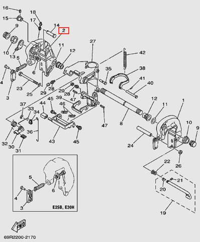 Скоба струбцины правая для лодочного мотора Т30 Sea-PRO (14-2)