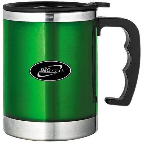 Кружка Biostal (0,35 литра) с крышкой, зеленая