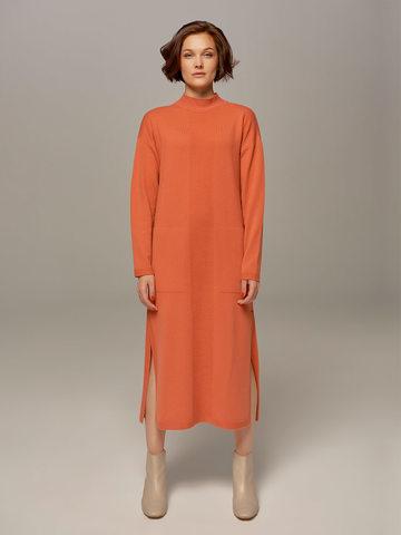 Женское платье кораллового цвета из шерсти и кашемира - фото 1